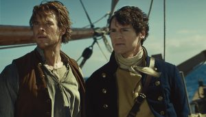 Kapitein George Pollard (Benjamin Walker) en eerste stuurman Owen Chase (Chris Hemsworth).