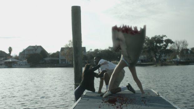De special effects in Shark Island zijn nogal slecht