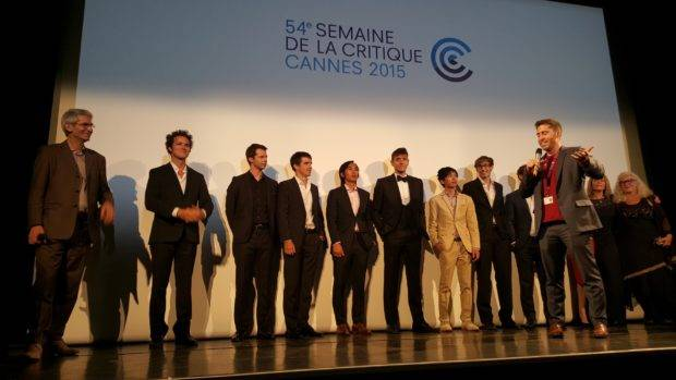 Trey Edward Shults en de cast & crew van Krisha tijdens de Semaine de la Critique, Cannes 2015. Copyright Marjolein Keijser